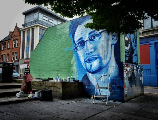 Blue Hulk (by Jay Sharples) and Banksy to the right, Snowden in progress. August 2013.